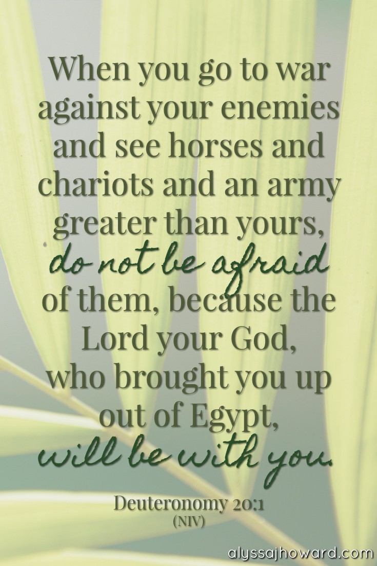 When you go to war against your enemies and see horses and chariots and an army greater than yours, do not be afraid of them, because the Lord your God, who brought you up out of Egypt, will be with you. - Deuteronomy 20:1