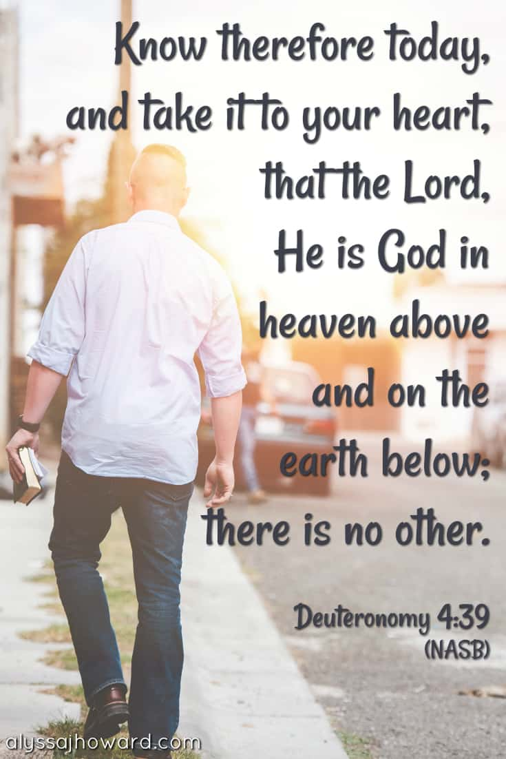 Know therefore today, and take it to your heart, that the Lord, He is God in heaven above and on the earth below; there is no other. - Deuteronomy 4:39
