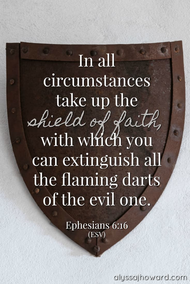 In all circumstances take up the shield of faith, with which you can extinguish all the flaming darts of the evil one. - Ephesians 6:16