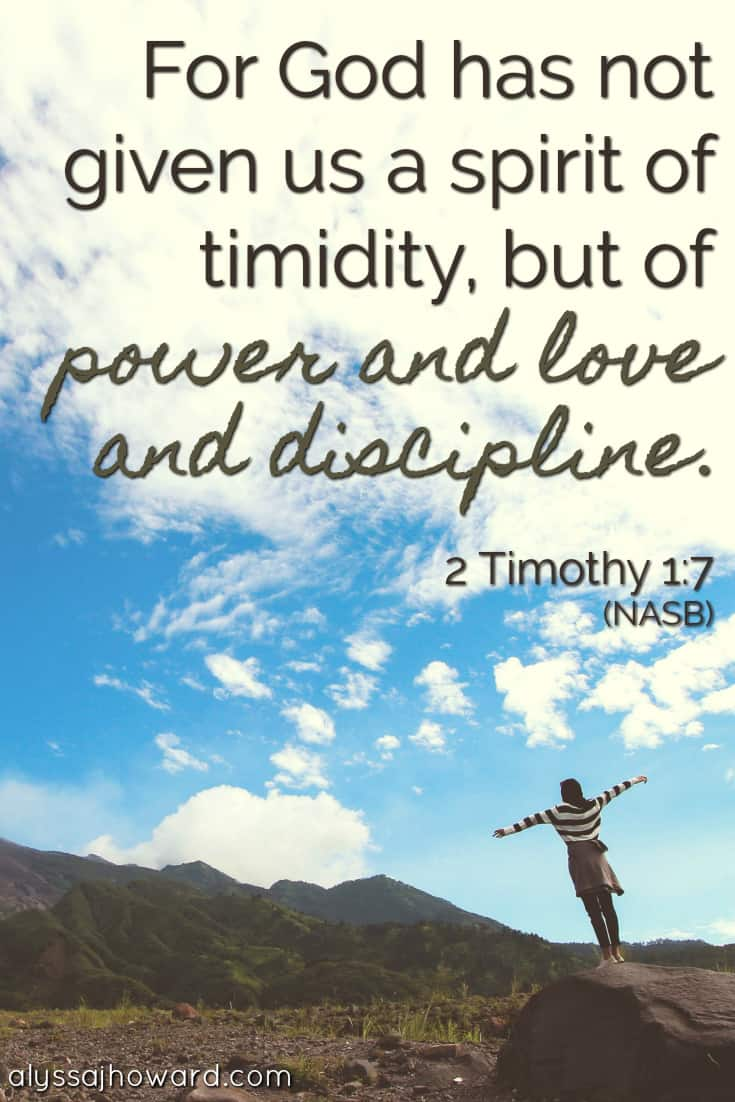 For God has not given us a spirit of timidity, but of power and love and discipline. - 2 Timothy 1:7