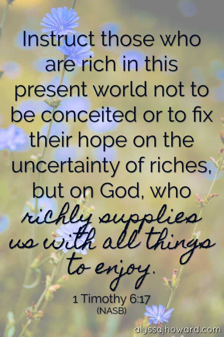 Instruct those who are rich in this world not to be conceited or to fix their hope on the uncertainty of riches, but on God, who richly supplies us with all things to enjoy. - 1 Timothy 6:17