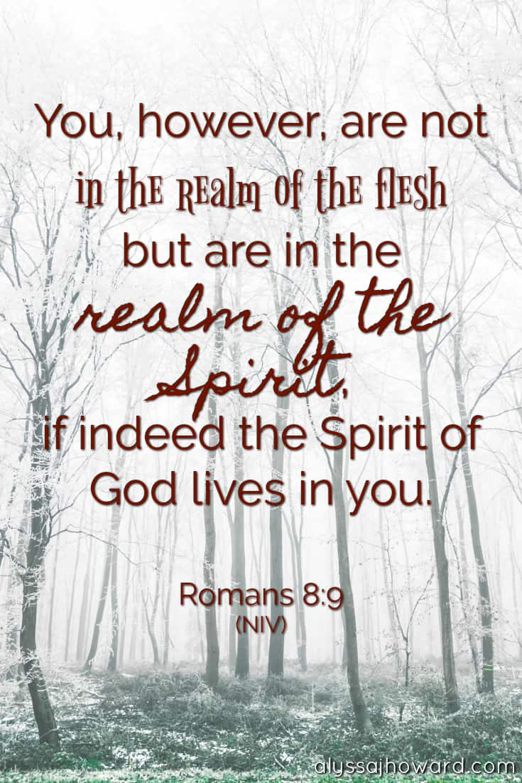 You, however, are not in the realm of the flesh but are in the realm of the Spirit, if indeed the Spirit of God lives in you. - Romans 8:9