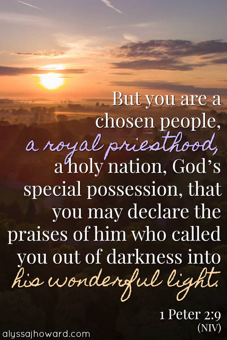 But you are a chosen people, a royal priesthood, a holy nation, God's special possession, that you may declare the praises of him who called you out of darkness into his wonderful light. - 1 Peter 2:9
