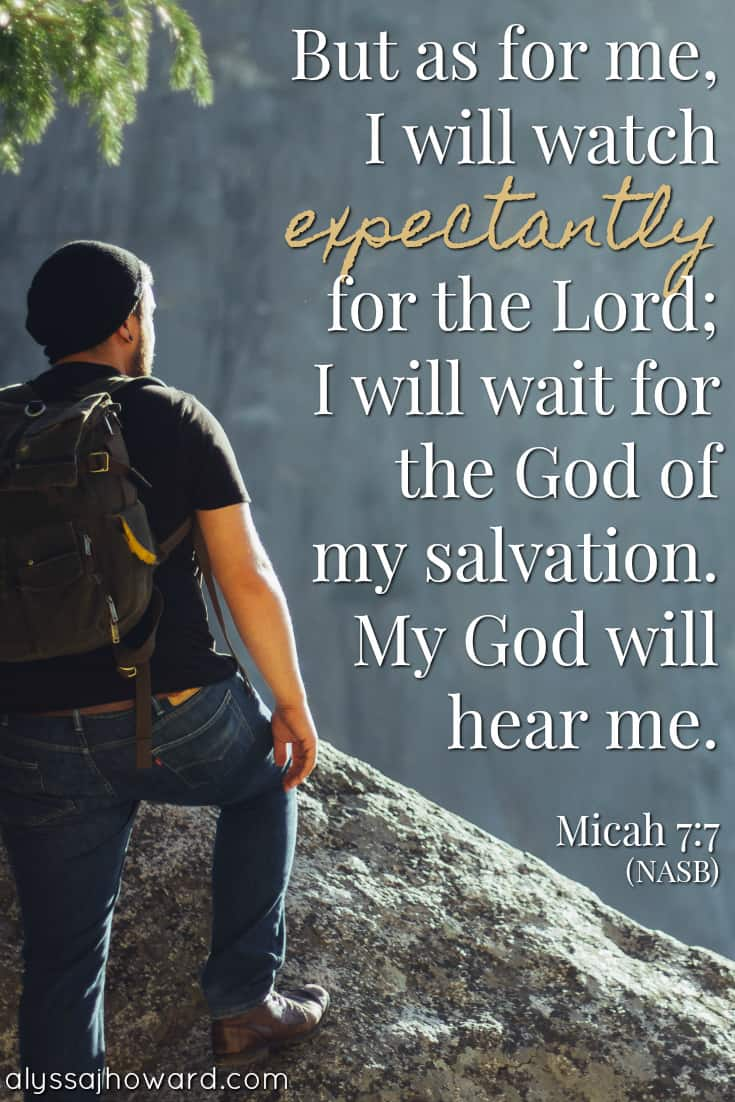 But as for me, I will watch expectantly for the Lord; I will wait for the God of my salvation. My God will hear me. - Micah 7:7
