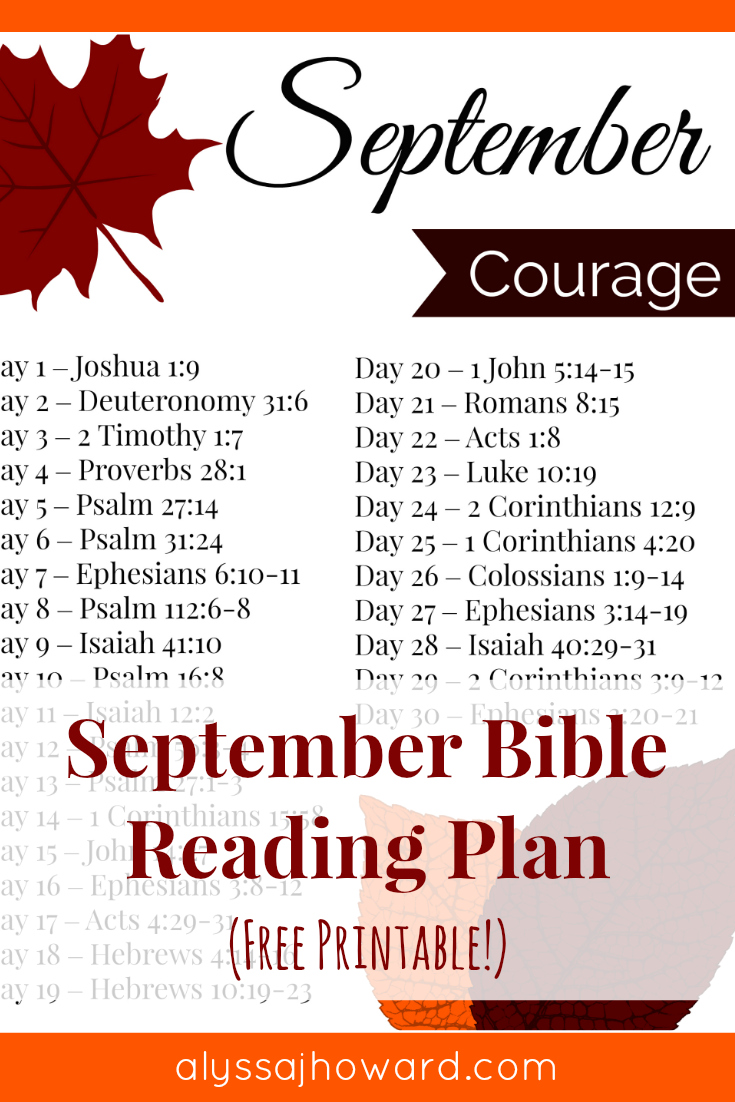September Bible Reading Plan | alyssajhoward.com