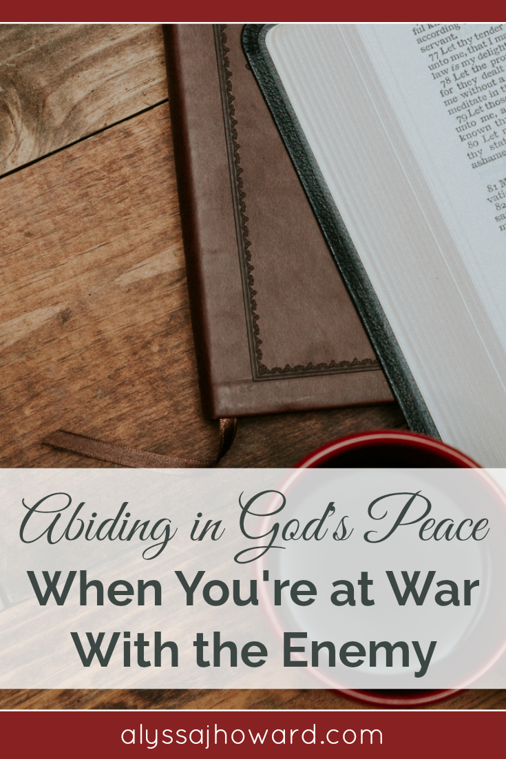 I think it's safe to say that we're never NOT at war with the enemy. But truth be told, some battles are more difficult than others. As children of God, we are called to abide in God's peace. But how do we abide in peace in the middle of awar?
