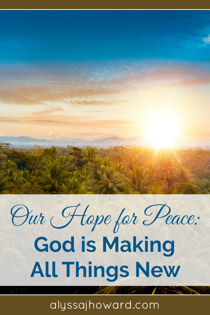 As chaotic as the world appears sometimes, we can trust that God's plan is at work through the power of the Holy Spirit. We have anamazing hope for peace!God is indeed making all things new...