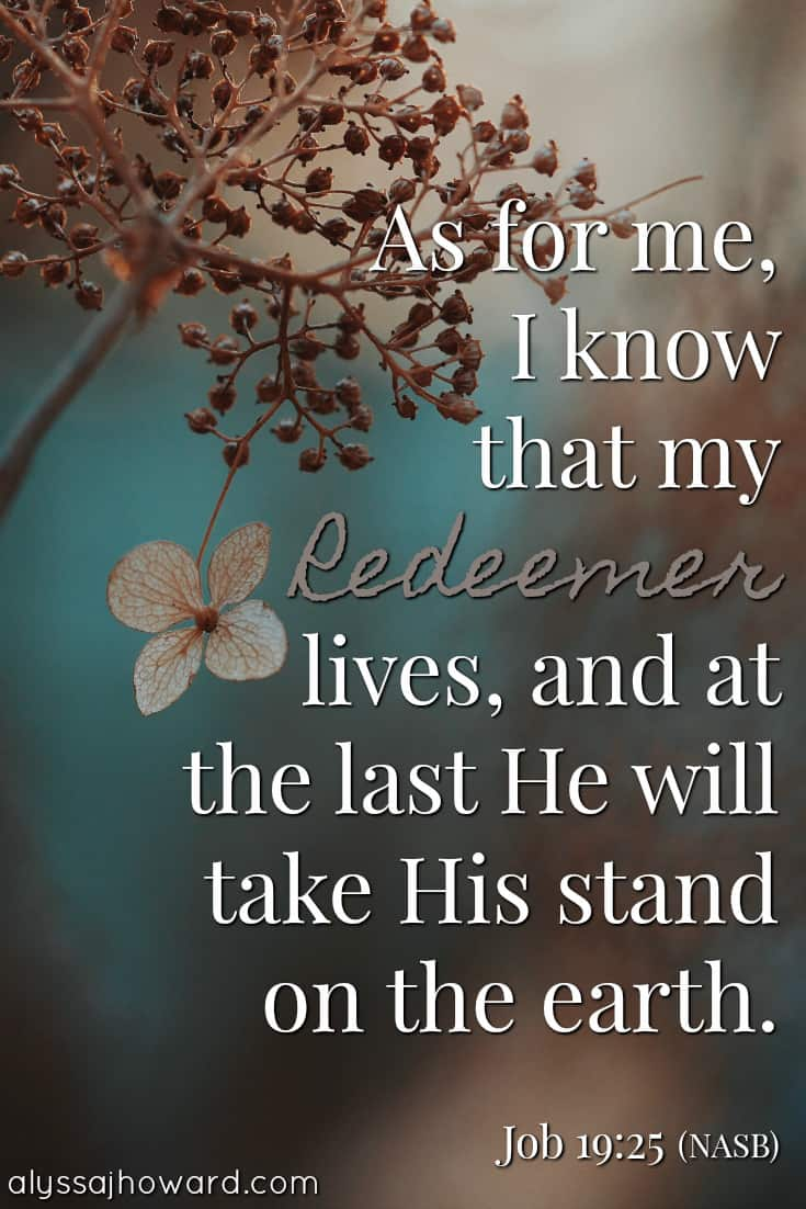 As for me, I know that my Redeemer lives, and at the last He will take His stand on the earth. - Job 19:25