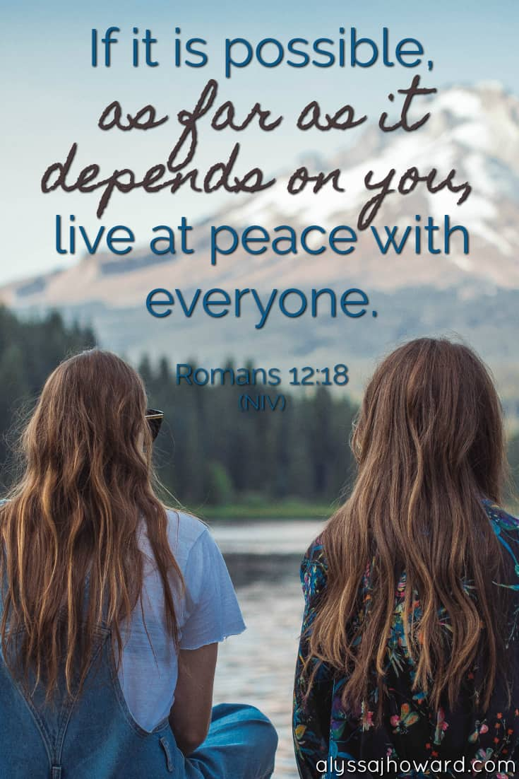 If it is possible, as far as it depends on you, live at peace with everyone. - Romans 12:18