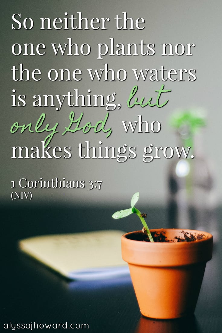 So neither the one who plants nor the one who waters is anything, but only God, who makes things grow. - 1 Corinthians 3:7