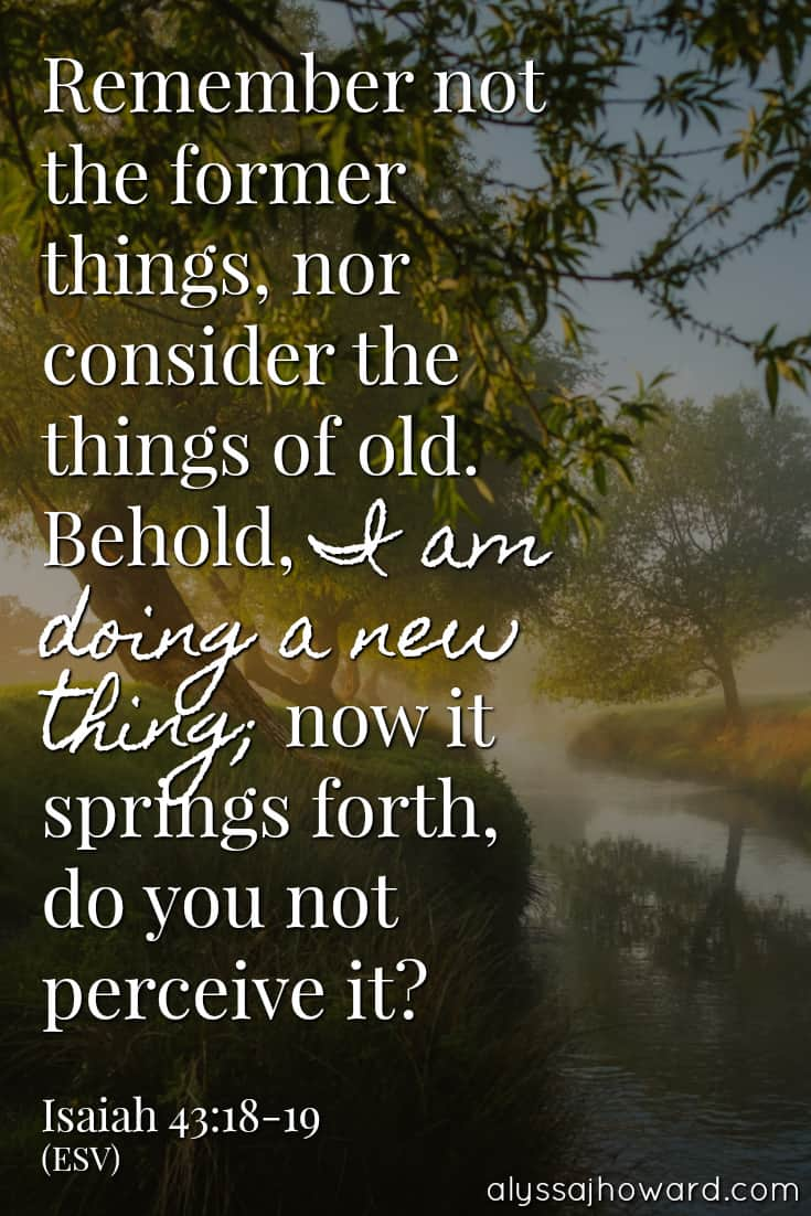 Remember not the former things, nor consider the things of old. Behold, I am doing a new thing; now it springs forth, do you not perceive it? - Isaiah 43:18-19