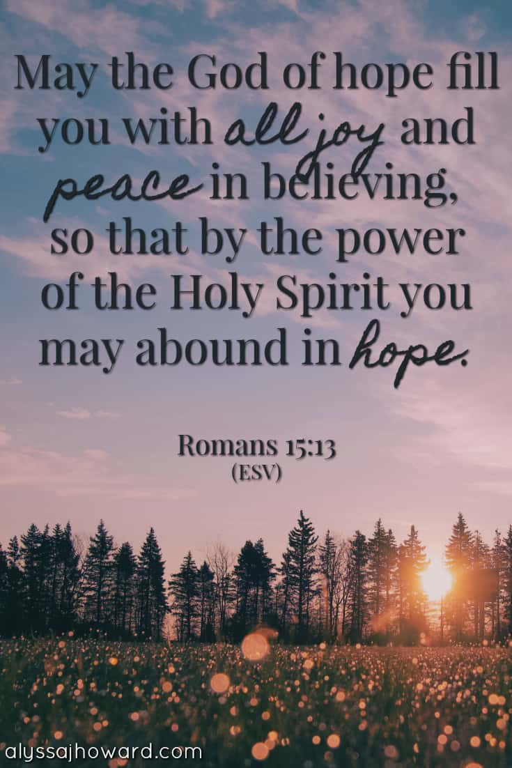 May the God of hope fill you with all joy and peace in believing, so that by the power of the Holy Spirit you may abound in hope. - Romans 15:13