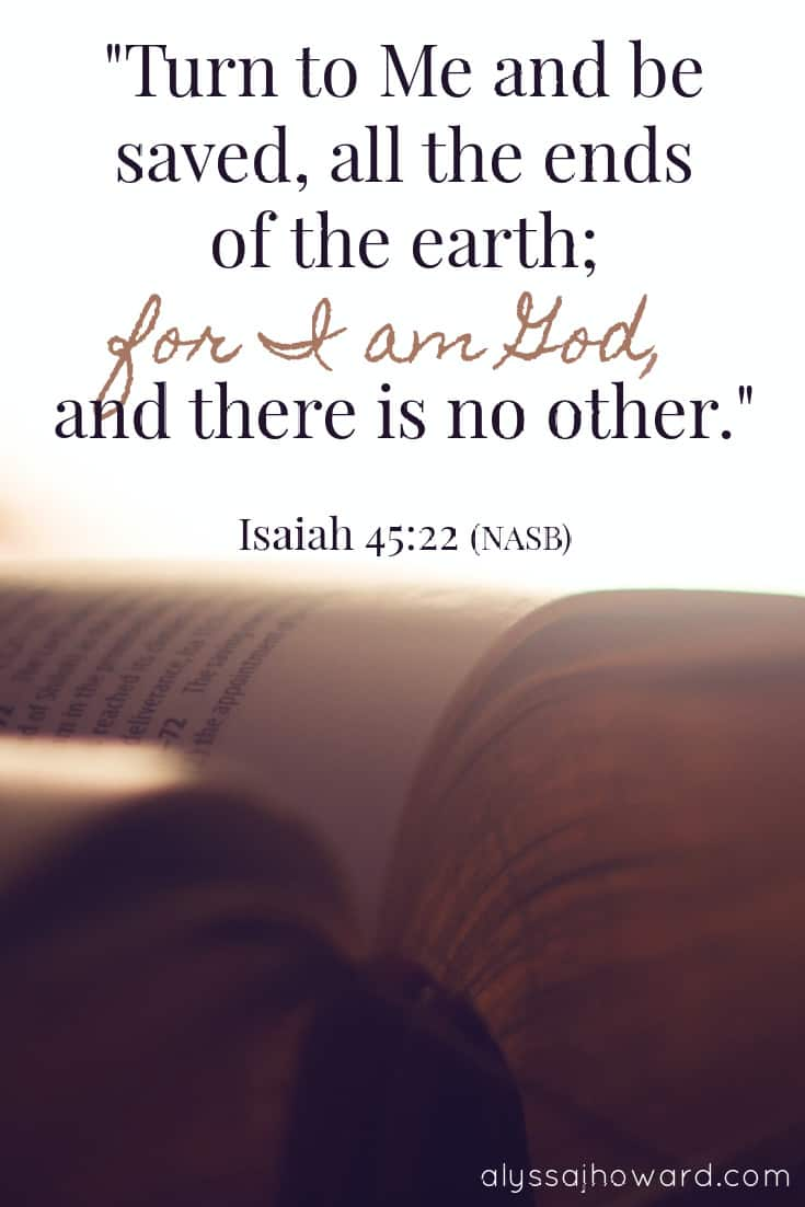 Turn to Me and be saved, all the ends of the earth; for I am God, and there is no other. - Isiah 45:22